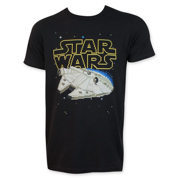 Star Wars 16-Bit Millennium Falcon Black Tee Shirt