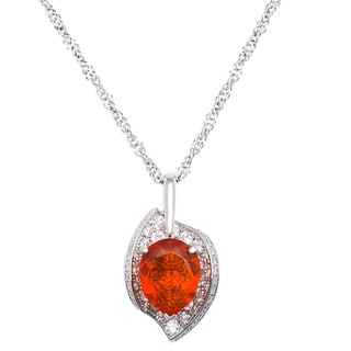 Platinum 1 1/4ct TDW Diamond and Mexican Opal Estate Necklace (G-H, VS1-VS2)