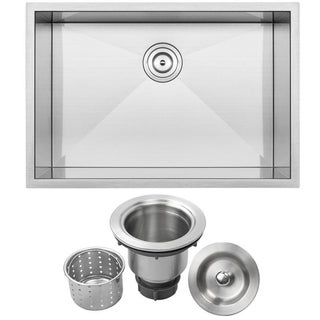 Ticor 28-inch Undermount 16 Gauge Stainless Steel Single Bowl Zero Radius Square Kitchen Sink