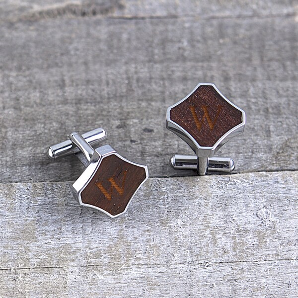 Stainless Steel Personalized Redwood Cuff Links