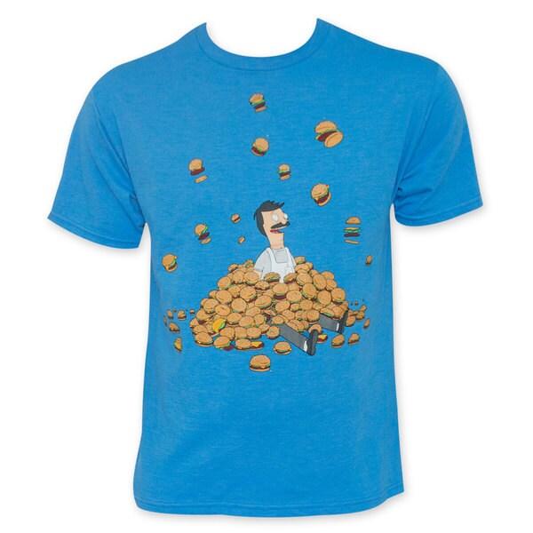 Bob's Burgers Men's Blue Burger Pile Tee Shirt