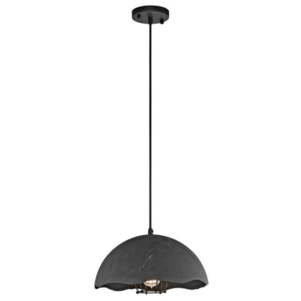 Kichler Lighting Fracture Collection 1-light Weathered Zinc Pendant