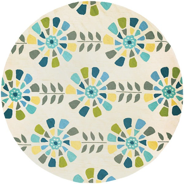 Couristan Beachfront Flower Bloom/ Multi-ivory Rug (8')
