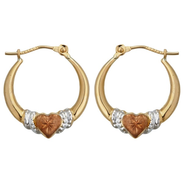 14k Three-tone Gold Heart Hoop Earrings