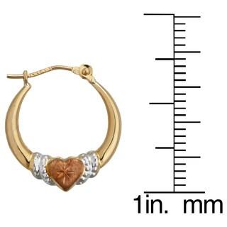 14k Three-tone Gold Heart Hoop Earrings