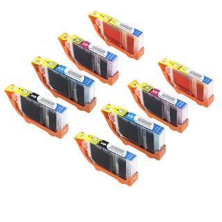 Canon CAN-CLI-8Y X2 CAN-CLI-8M X2 CAN-CLI-8C X2 CAN-CLI-8BK X2 Compatible Inkjet Cartridge PIXMA IP4200 5200 6600D (Pack of 8)