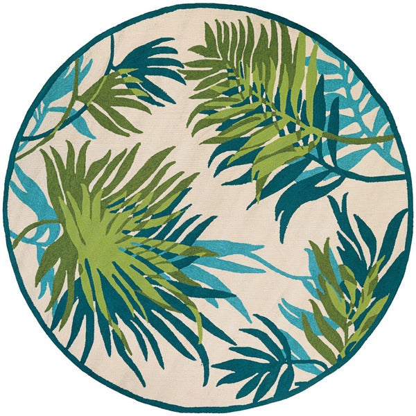 Couristan Covington Jungle Leaves/ Ivery-Forest Green Rug (8')