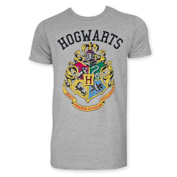 Harry Potter Hogwarts Insignia Men's Grey Tee Shirt