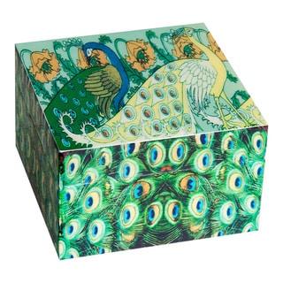 Screen Printed Square Peacock Keepsakes Box (India)