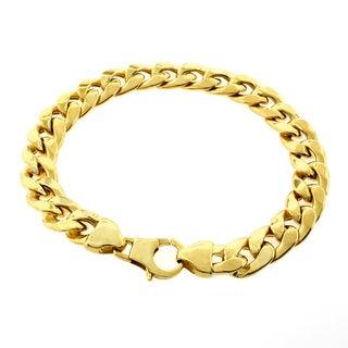 Goldplated Sterling Silver 10mm Hollow Cuban Link Bracelet