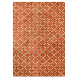 Alliyah Handmade Orange Rust Wool Rug (5' x 8')