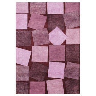Alliyah Handmade Carmine Rose Wool Rug (5' x 8')