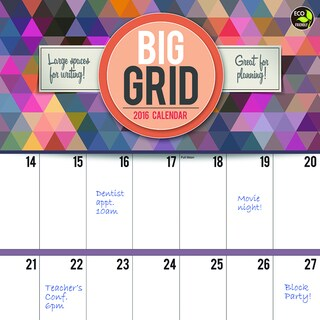 2016 Big Grid Design Wall Calendar