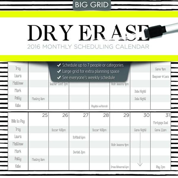 2016 Dry Erase Wall Calendar