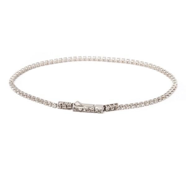 10k White Gold Genuine Topaz Tennis Bracelet