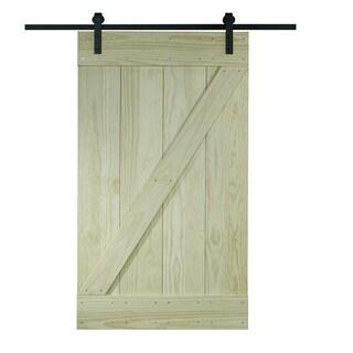 Unfinished Pine Z-design Wood Barn Door Kit (32x80)