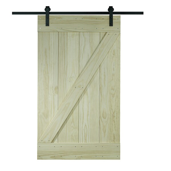 unfinished pine z design wood barn door kit 32x80