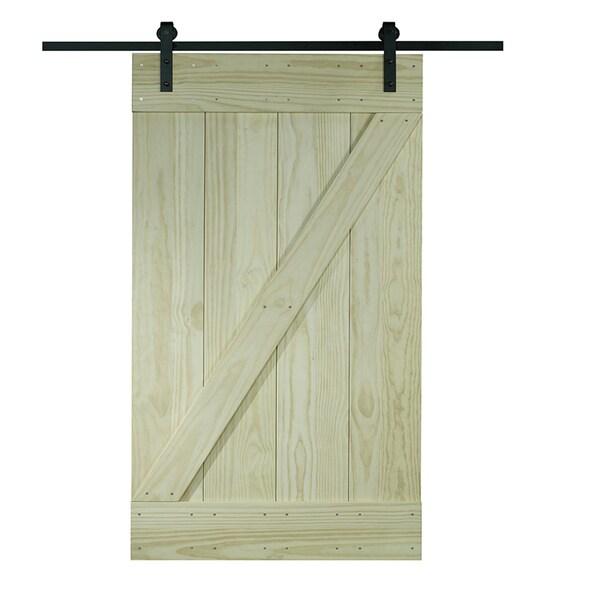 Unfinished Pine Z-design Wood Barn Door Kit (24x80)