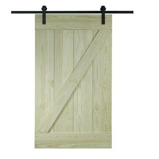 Unfinished Pine Z-design Wood Barn Door Kit (30x80)