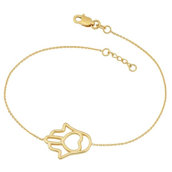 Fremada 14k Yellow Gold Hamsa Bracelet