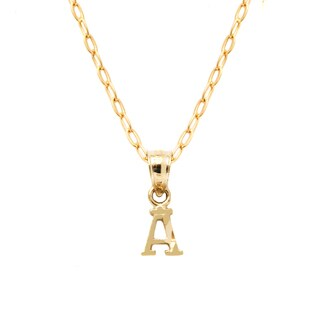 Pori 10k Yellow Gold Diamond-cut Initial Pendant Necklace