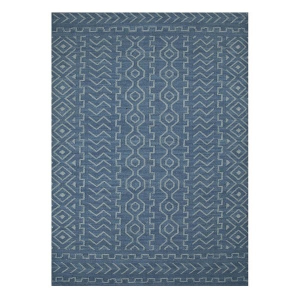 Flatweave Casual Dark Denim/Milky Blue Wool (5x8) Area Rug