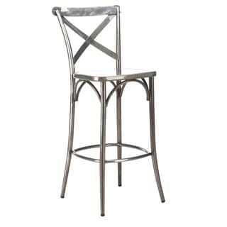 Cross Back Clear Gunmetal Steel High Back 30-inch Barstool (Set of 2)
