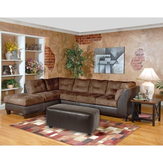 Marinio Chocolate Brown Microfiber and Faux Leather Left Chaise Sectional Sofa