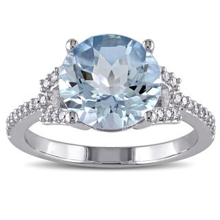 Miadora 10k White Gold Blue Topaz and 1/6ct TDW Diamond Ring (G-H, I2-I3)