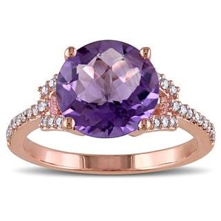 Miadora 10k Rose Gold Amethyst and 1/6ct TDW Diamond Ring (G-H, I2-I3)