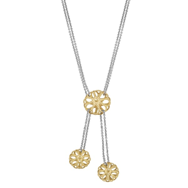 Fremada 14k Two-tone Gold Filigree on Double Strand Chain Necklace