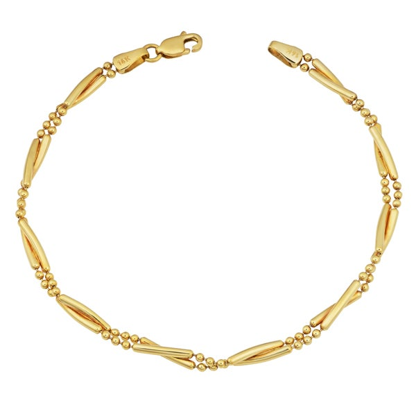 Fremada 14k Yellow Gold High Polish Twisted Bar and Bead Bracelet