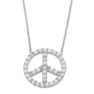 Fremada 14k White Gold and Cubic Zirconia Peace Sign Adjustable Necklace