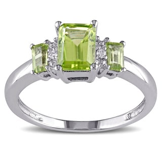 Miadora 10k White Gold Peridot and Diamond Accent Three Stone Ring