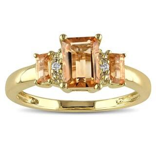 Miadora 10k Yellow Gold Citrine and Diamond Accent Three Stone Ring