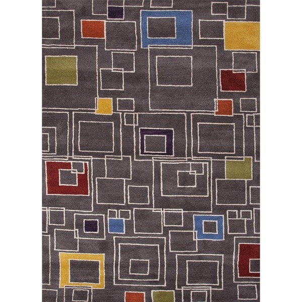 Hand-Tufted Contemporary Liquorice/Liquorice Wool (6x9) Area Rug