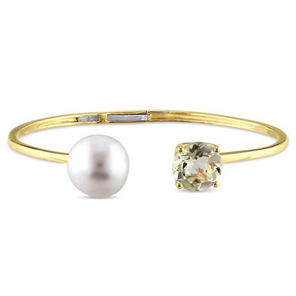 Miadora Yellow Silver Freshwater Pearl and Lemon Quartz Bangle bracelet