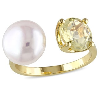 Miadora Yellow Silver Freshwater White Pearl and Lemon Quartz Ring