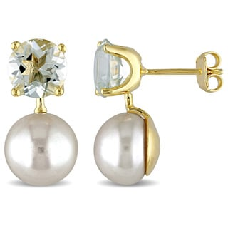 Miadora Yellow Silver FW White Pearl and Green Amethyst Earrings
