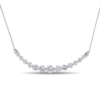 Miadora 10k White Gold Created White Sapphire Bar Necklace