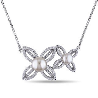 Miadora Sterling Silver Freshwater White Pearl and Cubic Zirconia Necklace
