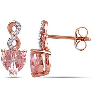 Miadora 10k Rose Gold Morganite and Diamond Accent Earrings (G-H, I2-I3)