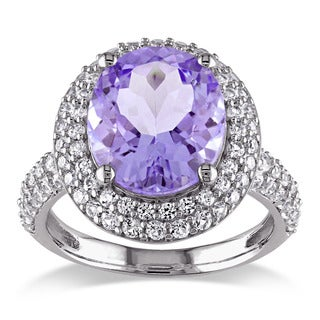 Miadora Sterling Silver Amethyst and Created White Sapphire Cocktail Ring
