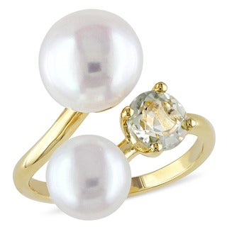 Miadora Yellow Silver Freshwater White Pearl and Green Amethyst Ring