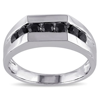 Miadora Sterling Silver Black Sapphire Men's Eternity Ring