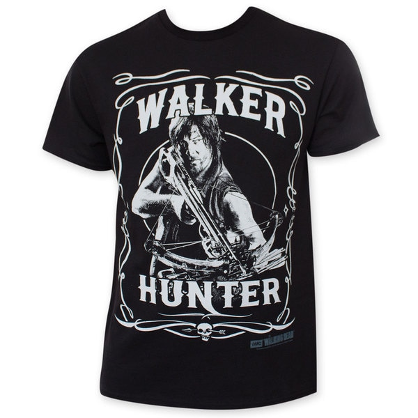 Walking Dead Daryl Walker Hunter Black Tee Shirt