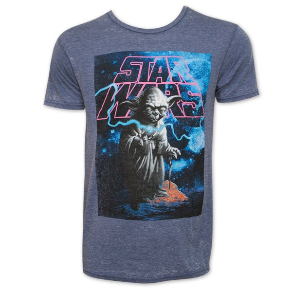 Star Wars Men's Grey Yoda Galaxy T-Shirt