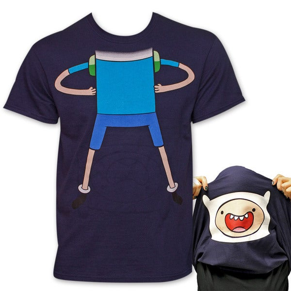 Adventure Time Finn Flip-Up Reversible Tee Shirt - Blue