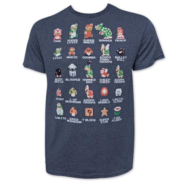 Nintendo Mario Pixel Cast Heather Navy Blue Tee Shirt
