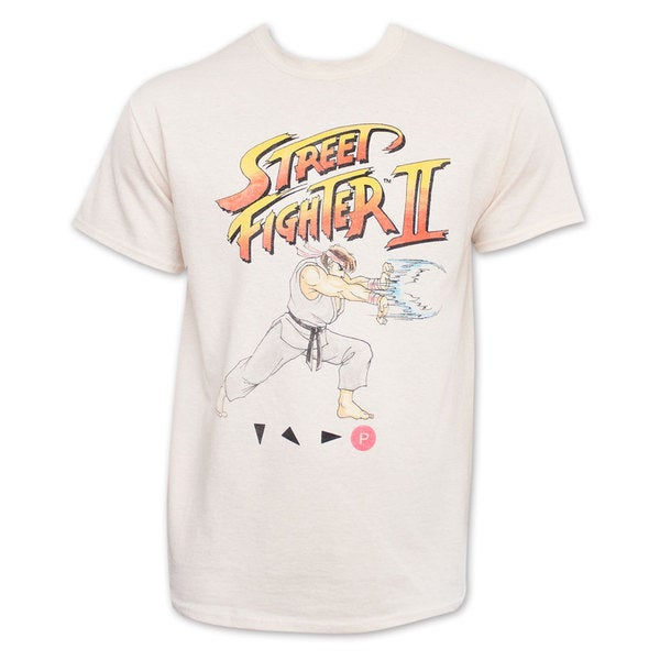 Street Fighter 2 Off White Hadoken Ryu Tee Shirt